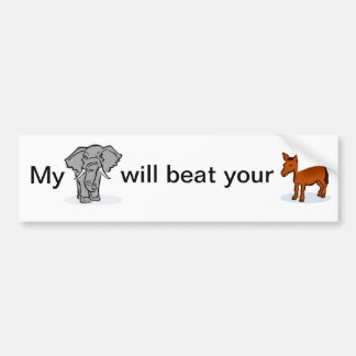 Political bumper sticker, elephant and donkey bumper sticker