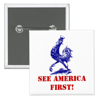 Political button vntg See America First Uncle Sam