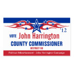 Political Campaign Card - County Commissioner Pack Of Standard Business Cards