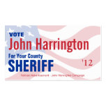 Political Campaign Card - County Sheriff Pack Of Standard Business Cards
