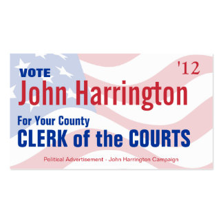 Political Campaign - Clerk of the Courts Business Business Card Templates