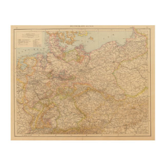 Political Map of Germany Wood Print