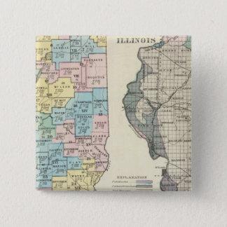 Political map of Illinois 15 Cm Square Badge