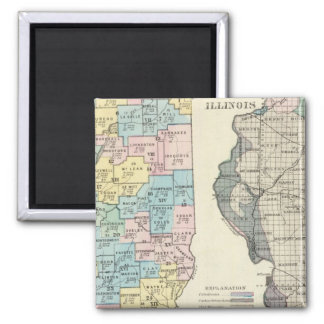 Political map of Illinois Square Magnet