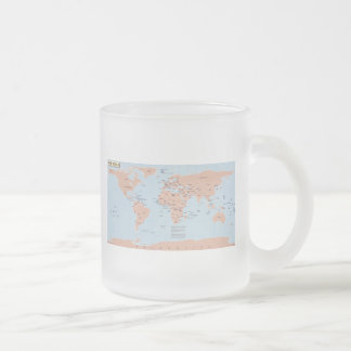 Political Map of the World Frosted Glass Mug