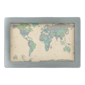 Political Map of the World Map Belt Buckles