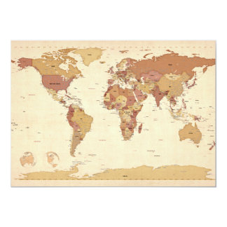 Political Map of the World Map Card