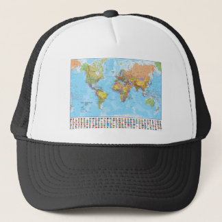 Political World Map with Flags Trucker Hat