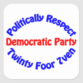 Politically Respect - Democratic Party Square Stickers