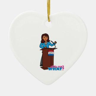 Politician Girl Ceramic Heart Decoration