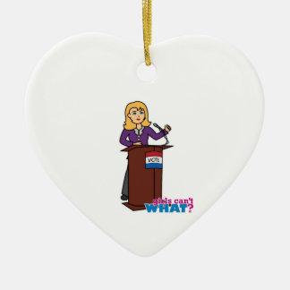 Politician - Light/Blonde Ceramic Heart Decoration