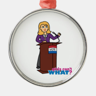 Politician - Light/Blonde Round Metal Christmas Ornament