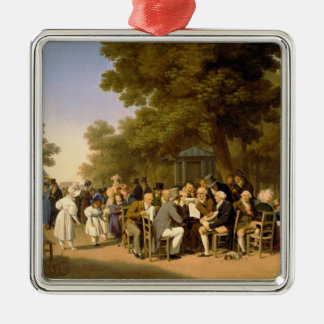 Politicians in the Tuileries Gardens, 1832 Silver-Colored Square Decoration