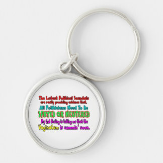 Politicians Spayed and Neutered Silver-Colored Round Key Ring