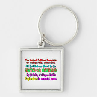 Politicians Spayed and Neutered Silver-Colored Square Key Ring