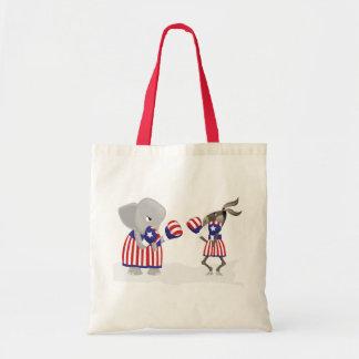 Politics left and right fight design budget tote bag