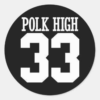 polk high round sticker