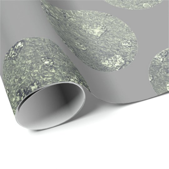 Polka Big Dots Teal Green Gray Metallic Graphite