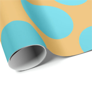 Polka Big Dots Turquoise Aqua Blue Yellow Pantone Wrapping Paper