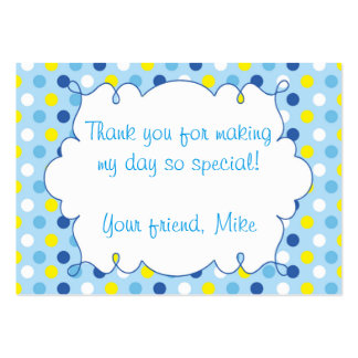 Polka Blue Yellow Thank You Tag Label Pack Of Chubby Business Cards