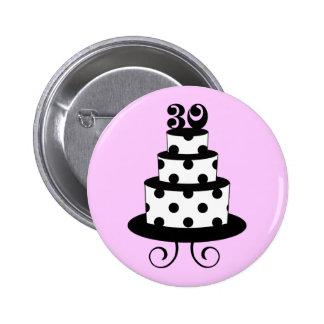 Polka Dot 30th Birthday Cake 6 Cm Round Badge