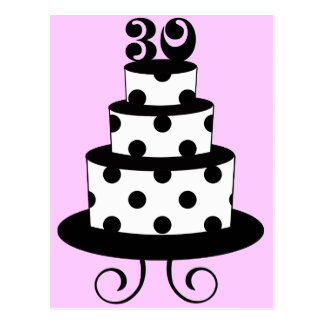 Polka Dot 30th Birthday Cake Postcard