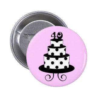 Polka Dot 40th Birthday Anniversary Cake 6 Cm Round Badge
