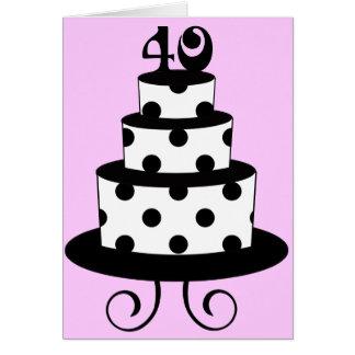 Polka Dot 40th Birthday Anniversary Cake Greeting Card