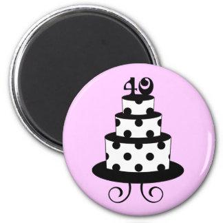 Polka Dot 40th Birthday Anniversary Cake Magnet
