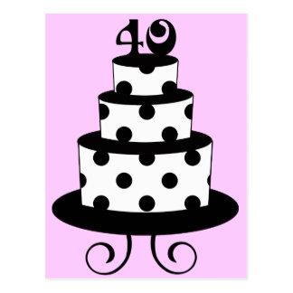 Polka Dot 40th Birthday Anniversary Cake Postcard