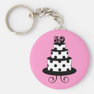 Polka Dot 50th Birthday Anniversary Basic Round Button Key Ring