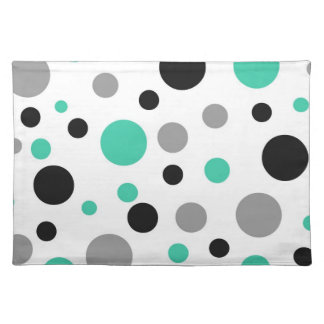 Polka Dot Abstract Art in Teal Placemat