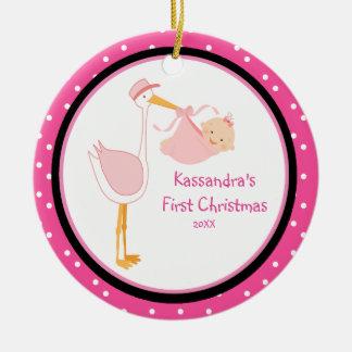 Polka Dot Adorable Stork First Christmas Ornament