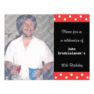 Polka Dot And Red Bubble 30th Birthday Celebration Invitation