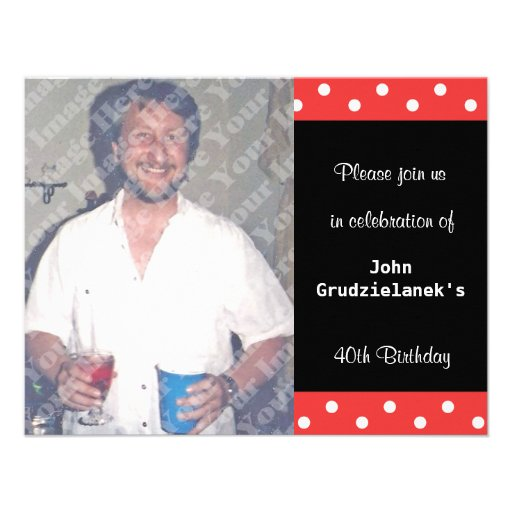 Polka Dot And Red Bubble 40th Birthday Celebration Personalized Invitation