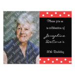Polka Dot And Red Bubble 80th Birthday Celebration Personalised Invite
