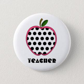 Polka Dot Apple Teacher 6 Cm Round Badge