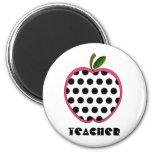 Polka Dot Apple Teacher 6 Cm Round Magnet