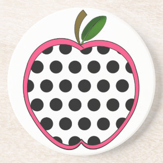 Polka Dot Apple Teacher Beverage Coasters