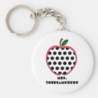 Polka Dot Apple Teacher Basic Round Button Key Ring