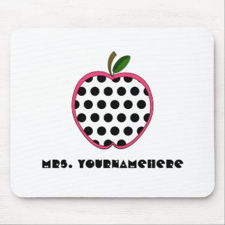 Polka Dot Apple Teacher Mouse Pad
