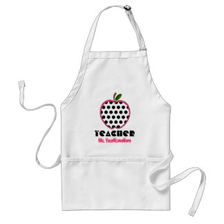 Polka Dot Apple Teacher Standard Apron