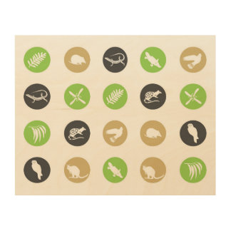 Polka dot Australian animals green Wood Print