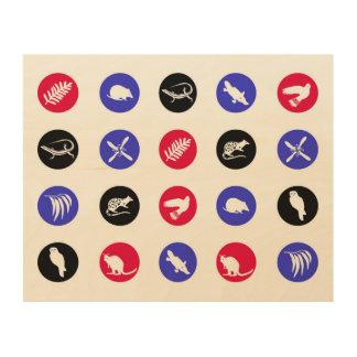 Polka dot Australian animals red and blue Wood Print