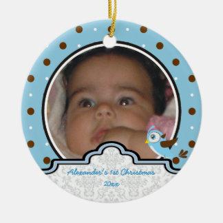Polka dot baby boy first Christmas photo ornament