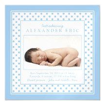 Polka Dot Baby Boy Photo Birth Announcement