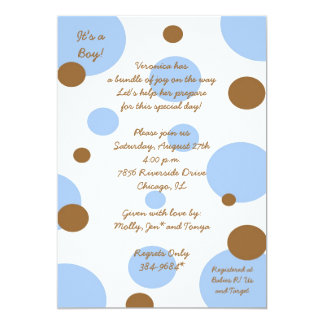 Polka Dot Baby Shower Inviations: Brown and Blue Card