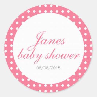 Polka dot baby shower stickers