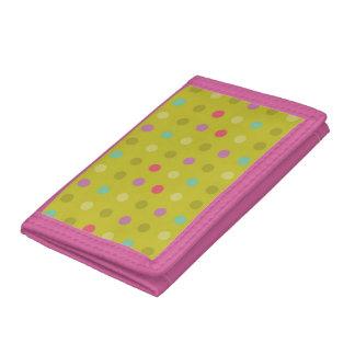 Polka-dot background pattern tri-fold wallet