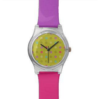 Polka-dot background pattern watch
